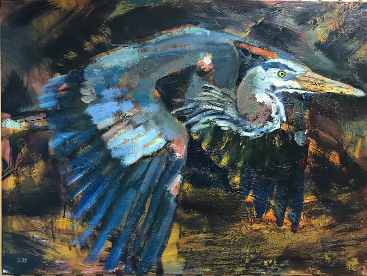 "Great Blue Heron 30""x 40"" $1,200"