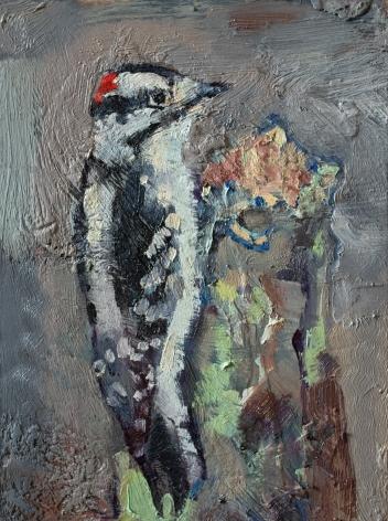"""Eastern Downy Woodpecker 9"""" x 12"""" $108"""